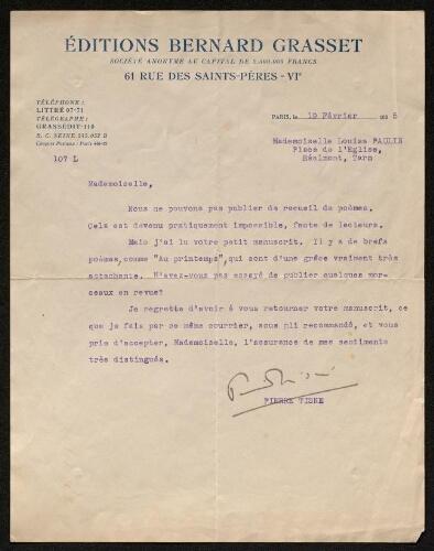 Lettre des Editions Bernard Grasset, le 19 février 1935