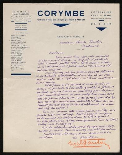 Lettre de Corymbe à Louisa Paulin, 1934