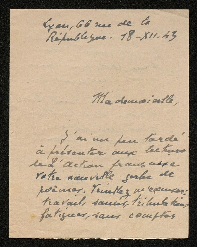 Lettre de René Brécy à Louisa Paulin, le 18 décembre 1943