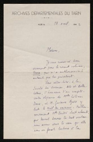 Lettre de Pierre Breillat à Louisa Paulin, le 18 avril 1942