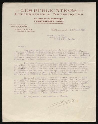Lettre des Publications littéraires & artistiques à Louisa Paulin, le 7 février 1928