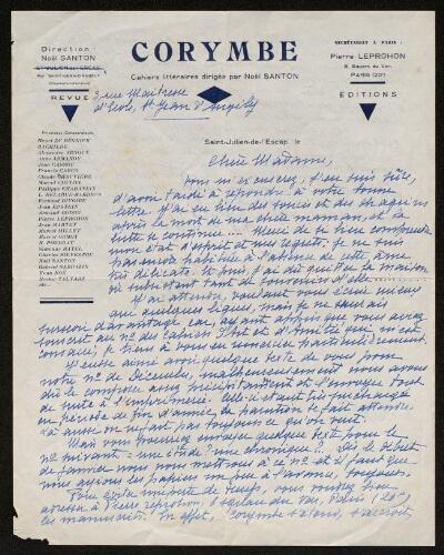 Lettre de Corymbe à Louisa Paulin