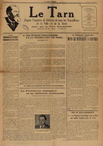 Tarn : Organe populaire de défense des ouvriers, paysans, artisans et petits commerçants (Le), n°5, 6 février 1937