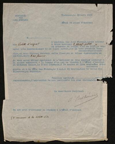 Lettre du comte d'Adhémar à Louisa Paulin, le 19 mars 1938