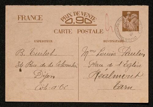 Lettre de Blanche Turlot à Louisa Paulin, le 7 janvier 1941