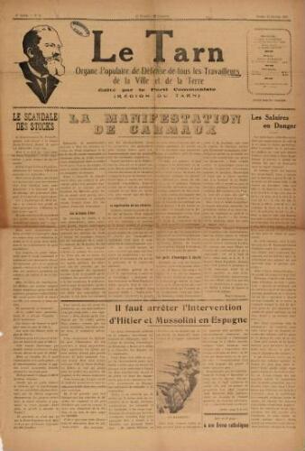 Tarn : Organe populaire de défense des ouvriers, paysans, artisans et petits commerçants (Le), n°3, 23 janvier 1937