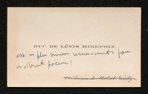 Lettre du duc de Lévis Mirepoix à Louisa Paulin