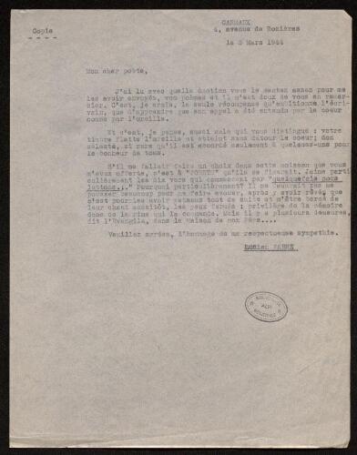 Lettre de Lucien Fabre à Louisa Paulin, le 3 mars 1944