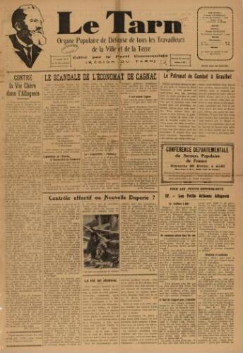 Tarn : Organe populaire de défense des ouvriers, paysans, artisans et petits commerçants (Le), n°8, 28 février 1937