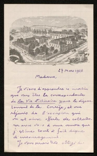 Lettre de Pierre Legrand (pour La Vie artistique et littéraire en province), le 27 mars 1928