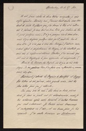 Lettre d'Antonin Perbosc à Louisa Paulin, le 15 novembre 1937