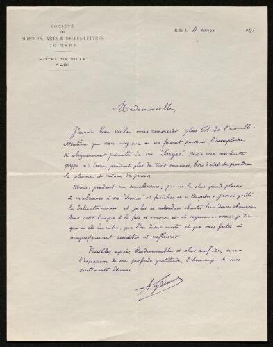 Lettre d'Antonin Grimal à Louisa Paulin, le 4 mars 1941