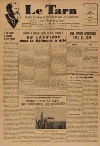 Tarn : Organe populaire de défense des ouvriers, paysans, artisans et petits commerçants (Le), n°10, 13 mars 1937