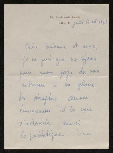 Lettre de Charles Bellet à Louisa Paulin, le 16 août 1941