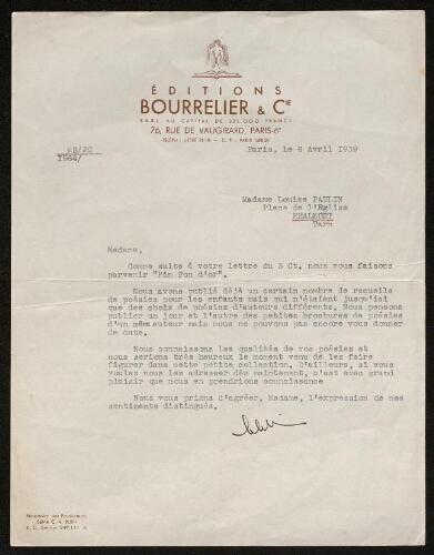 Lettre des Editions Bourrelier & Cie à Louisa Paulin, le 6 avril 1939