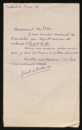 Lettre de Joseph de Belleville à Louisa Paulin, le 3 mai 1938