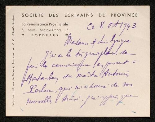 Lettre de la Renaissance Provinciale à Louisa Paulin, le 8 octobre 1943