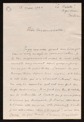 Lettre de Jean Vinciguerra à Louisa Paulin, le 16 mars 1944
