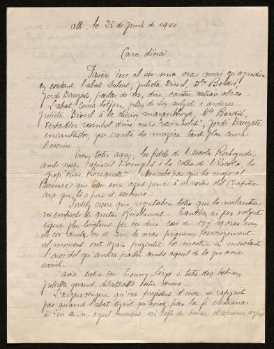 Lettre de Norbert Rouquette à Louisa Paulin, le 23 juin 1941