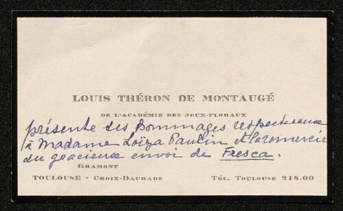 Lettre de Louis Théron de Montaugé à Louisa Paulin