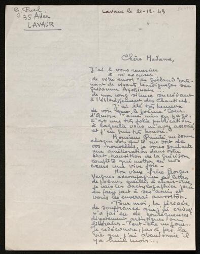 Lettre de Gaston Puel à Louisa Paulin, le 21 décembre 1943