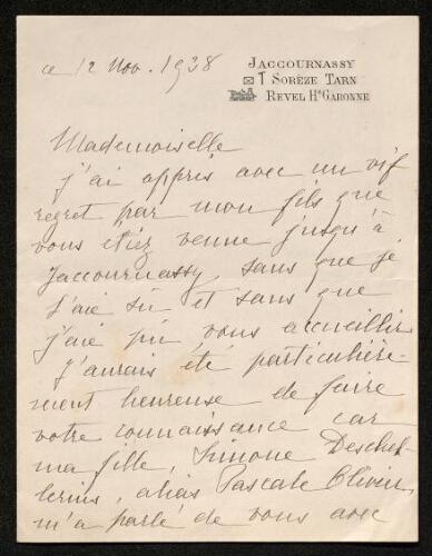 Lettre de Barrau de Muratel (mère de Pascale Olivier) à Louisa Paulin, le 12 novembre 1938
