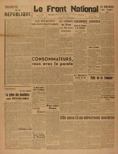 F.N. : hebdomadaire du Front national du Tarn, n°89, 18 mai 1946
