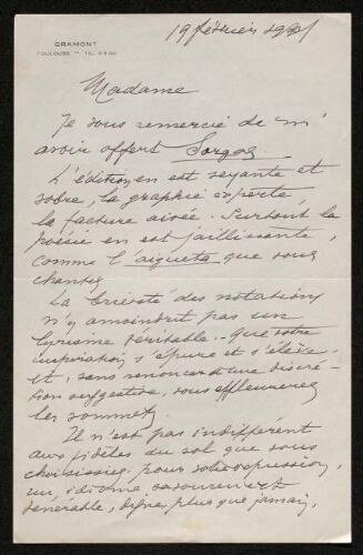 Lettre de Louis Théron de Montaugé à Louisa Paulin, le 19 février 1941
