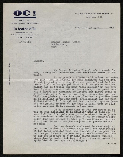 Lettre de la revue Oc à Louisa Paulin, le 12 avril 1940