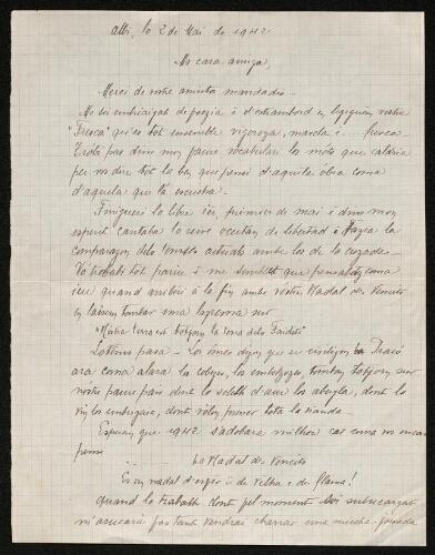 Lettre de Norbert Rouquette à Louisa Paulin, le 2 mai 1942