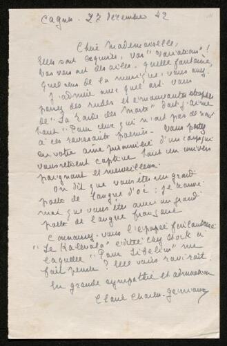 Lettre de Claire Charles-Géniaux à Louisa Paulin, le 27 décembre 1942