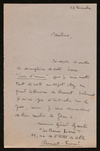 Lettre de Max Bourdin à Louisa Paulin, le 28 décembre 1943