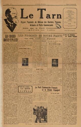 Tarn : Organe populaire de défense des ouvriers, paysans, artisans et petits commerçants (Le), n°1, 9 janvier 1937