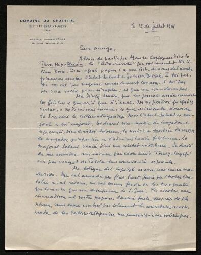 Lettre d'André Boussac à Louisa Paulin, le 12 juillet 1941
