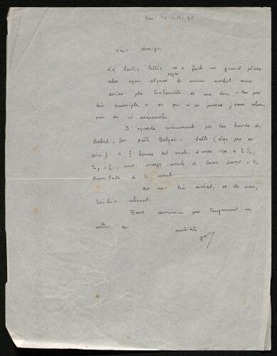 Lettre de Paul Gayraud à Louisa Paulin, le 21 novembre 1941
