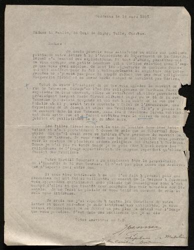 Lettre de Ferdinand Spenner à Louisa Paulin, le 14 mars 1925