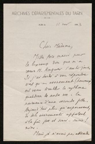 Lettre de Pierre Breillat à Louisa Paulin, le 11 novembre 1943