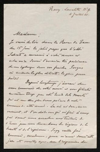 Lettre du comte d'Adhémar à Louisa Paulin, le 4 juillet 1941