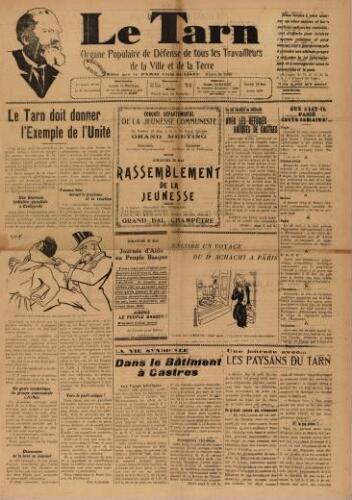 Tarn : Organe populaire de défense des ouvriers, paysans, artisans et petits commerçants (Le), n°21, 29 mai 1937
