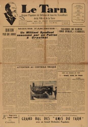 Tarn : Organe populaire de défense des ouvriers, paysans, artisans et petits commerçants (Le), n°9, 6 mars 1937