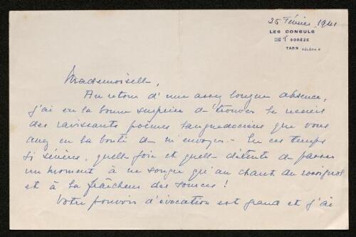 Lettre de Barrau de Muratel (mère de Pascale Olivier) à Louisa Paulin, le 25 février 1941