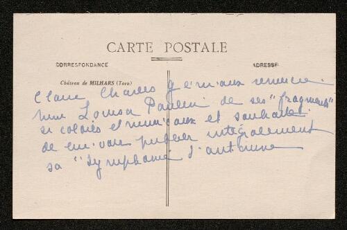 Lettre de Claire Charles-Géniaux à Louisa Paulin