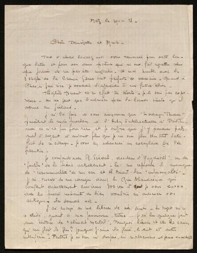 Lettre de Mio van Looberghe à Louisa Paulin, le 29 janvier 1938