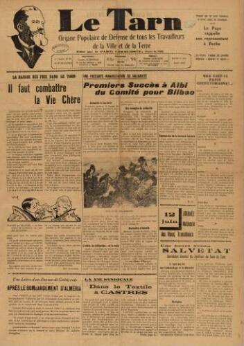 Tarn : Organe populaire de défense des ouvriers, paysans, artisans et petits commerçants (Le), n°22, 5 juin 1937