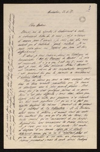 Lettre d'Antonin Perbosc à Louisa Paulin, le 23 avril 1937