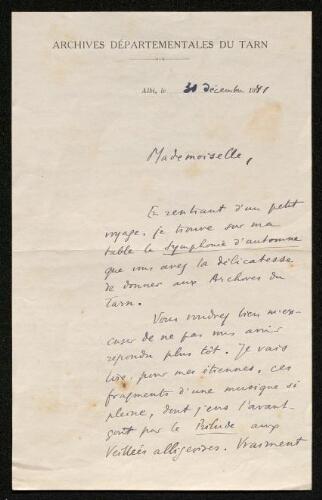 Lettre de Pierre Breillat à Louisa Paulin, le 30 décembre 1941