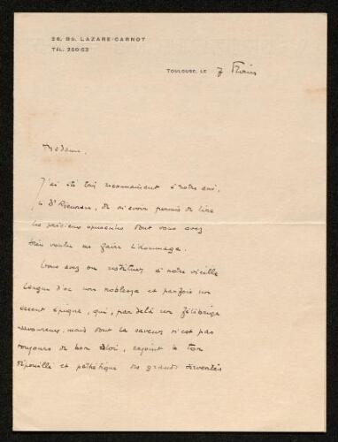 Lettre de Marcel Sendrail à Louisa Paulin, le 7 février
