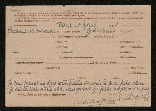 Lettre de Divine Saint-Pol Roux à Louisa Paulin, le 2 mars 1941