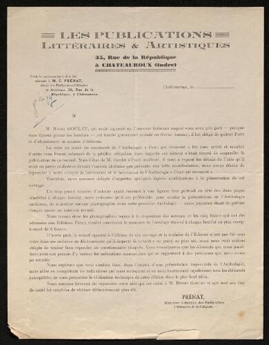 Lettre des Publications littéraires & artistiques à Louisa Paulin, octobre 1927