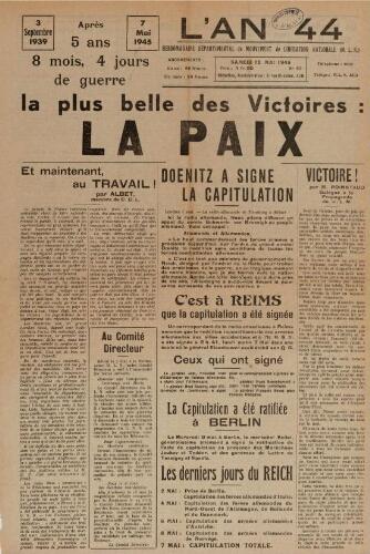 An 44 : organe départemental du mouvement de libération nationale (L'), n°25, 12 mai 1945